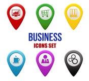Uppsättning av affärslocatorssymboler Fotografering för Bildbyråer
