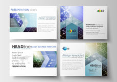 Uppsättning av affärsmallar för presentationsglidbanor Lätta redigerbara abstrakta orienteringar i plan design DNAmolekylstruktur Arkivbilder