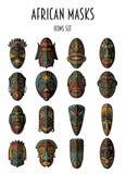 Uppsättning av afrikanska etniska stam- maskeringar Arkivbilder