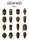 Uppsättning av afrikanska etniska stam- maskeringar Arkivfoto