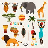 Uppsättning av afrikanska etniska stilsymboler i plan stil