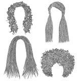 Uppsättning av afrikanska hår den svarta blyertspennateckningen skissar dreadlockscornrows Arkivbilder