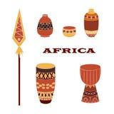 Uppsättning av afrikanska kannor och valsar stock illustrationer