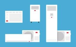 Uppsättning av airconditioners i plan stil Arkivbild