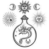 Uppsättning av alchemical symboler Ursprung av liv Mystiska ormar i en flaska Religion mystik, ockultism, svartkonst