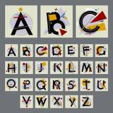 Uppsättning av alfabetet med versalar som utgöras av enkla geometriska former royaltyfri illustrationer