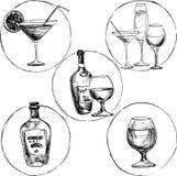 Uppsättning av alkoholdrinkar Arkivfoto