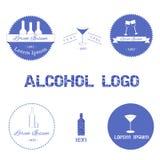 Uppsättning av alkohollogoer Arkivbilder