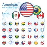 uppsättning av Americas flaggor, vektorillustration royaltyfri illustrationer