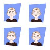 Uppsättning av ansiktsuttryck Guy Different Emotions On Face för ung man vektor illustrationer