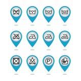 Uppsättning av anvisningstvätterisymboler, omsorgsymboler, tvättande symboler Arkivfoto