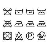 Uppsättning av anvisningstvätterisymboler, tvättande symboler stock illustrationer