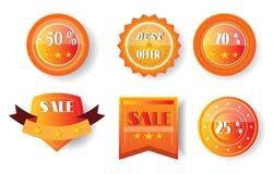 Uppsättning av apelsinen, gula klistermärkear med text Arkivbild