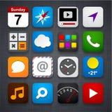 Uppsättning av app-symboler. stock illustrationer