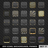 Uppsättning av App-symbolsramar, mallar, bakgrunder. Uppsättning 17 Royaltyfri Bild