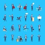 Uppsättning av arbetaren för kontor för symbol för affärsman som den manliga poserar den affärsmanCorporate Different Situations  Arkivfoton