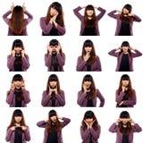 Uppsättning av asiatiska unga vuxna emotionella framsidor Arkivbild