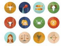 Uppsättning av astrologiska zodiaksymboler horoskop Royaltyfri Bild