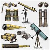Uppsättning av astronomiska instrument, teleskopoculars och kikare, kvadrant, sextant som inristas i den drog tappninghanden royaltyfri illustrationer
