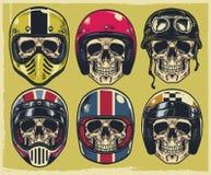 Uppsättning av att bära för handteckningsskallar som är olikt av motorcykelhjälm stock illustrationer
