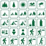 Uppsättning av att fotvandra turistsymbolen stock illustrationer