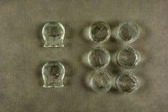 Uppsättning av att kupa för alternativ medicin arkivbild