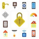 Uppsättning av att låsa, mobil, hålighet, avkännare, hem, propp, meter, Coole stock illustrationer