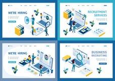 Uppsättning av att landa sidor av den isometriska rekrytera affärsidéen som hyr anställda i ett företag, timme-chef stock illustrationer