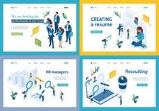 Uppsättning av att landa sidor av det isometriska rekrytera begreppet som hyr anställda i ett företag, timme-chef stock illustrationer