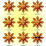 Uppsättning av att le solar stock illustrationer