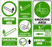 Uppsättning av att röka områdestecken Royaltyfria Bilder
