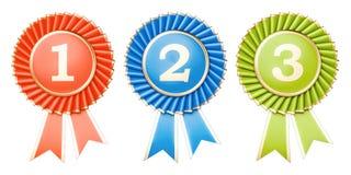 Uppsättning av att segra utmärkelser, medaljer eller emblem med band renderi 3D stock illustrationer