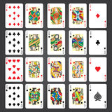 Uppsättning av att spela kort: Tio stålar, drottning, konung, Ace Royaltyfri Bild