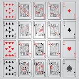 Uppsättning av att spela kort: Tio stålar, drottning, konung, Ace royaltyfri foto