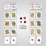 Uppsättning av att spela kort: Tio stålar, drottning, konung, Ace arkivbild