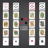 Uppsättning av att spela kort: Tio stålar, drottning, konung, Ace Arkivfoton