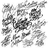 Uppsättning av att surfa modern kalligrafihandbokstäver för serigrafitryck Arkivfoton