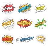 Uppsättning av att uttrycka solida effekter för komisk anförandebubbla royaltyfri illustrationer