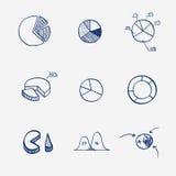 Uppsättning av attraktion för hand för paj för graf för cirkeldiagramdiagram Arkivbild