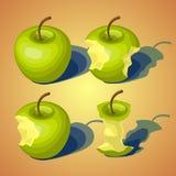 Uppsättning av av äpplen, gradvist ätit Arkivfoto
