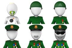 Uppsättning av avatars för militär 3d Royaltyfria Bilder