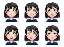 Uppsättning av avatars för sinnesrörelser för färgtecknad filmflicka Arkivbild