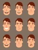 Uppsättning av avatars Manliga tecken Arkivfoton