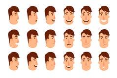 Uppsättning av avatars Manliga tecken Royaltyfri Bild