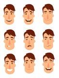 Uppsättning av avatars Manliga tecken Arkivbild