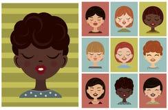 Uppsättning av avatars, profilbilder Vektorflickaavatar, plana symboler Royaltyfri Foto