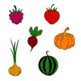 Uppsättning av bär och grönsaker Arkivbild
