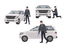 Uppsättning av bärande svartkläder för kapare och maskeringsanseende bredvid bilen och försöka att bryta in i den Manligt tecknad royaltyfri illustrationer