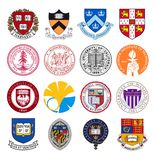 Uppsättning av bästa världsuniversitet- och institutlogoer royaltyfria foton