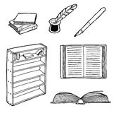 Uppsättning av böcker royaltyfri illustrationer